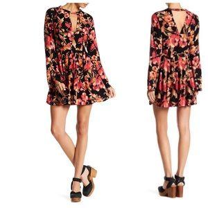 Free People Tegan Black Poppy Mini Dress Sz 2
